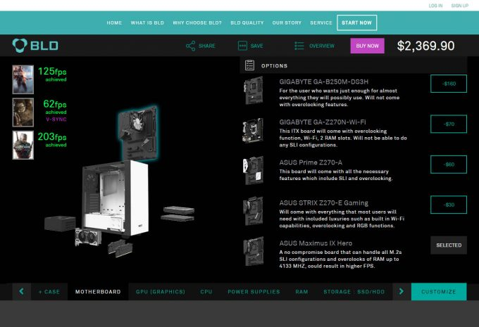 NZXT BLD Component Selection