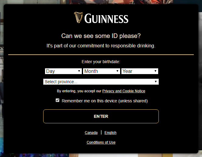 Guiness Age Verification