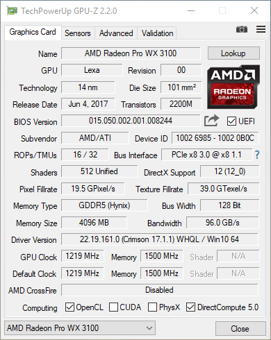 AMD Radeon Pro WX 3100 GPU-Z Screenshot