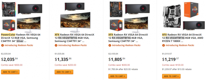 AMD Radeon RX Vega 64 - Bundles Still Available At Newegg