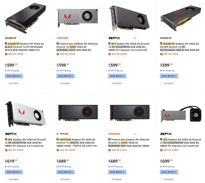 AMD Radeon RX Vega 64 - Individual Cards Sold Out At Newegg