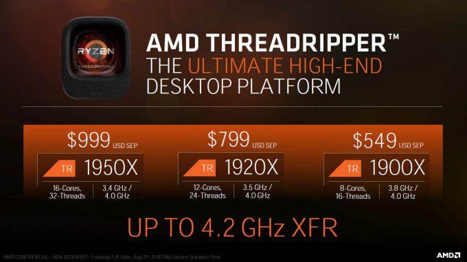 AMD Ryzen Threadripper SKUs