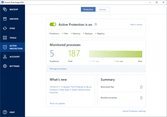 Acronis True Image 2018 - Active Protection