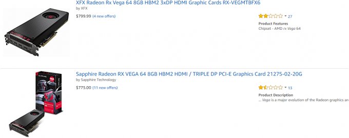 Amazon RX Vega Stock Situation