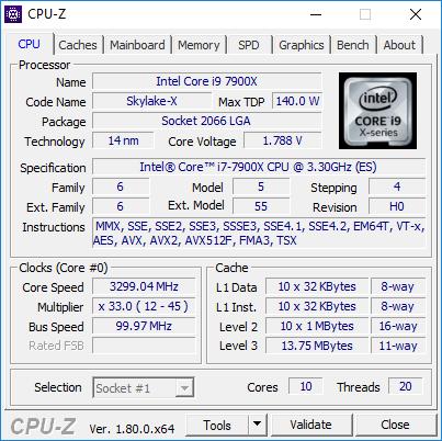 Intel Core i9-7900X CPU-Z