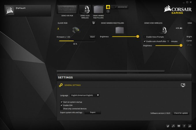 Corsair Utility Engine - Settings & Demo Products