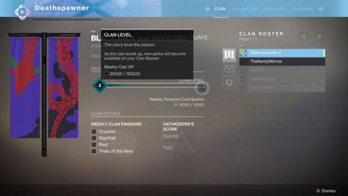 Destiny 2 - Clan Screen