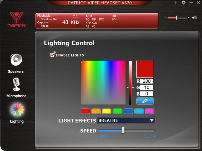 Patriot V370 Software - RGB Lighting Selection