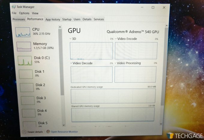 Qualcomm Snapdragon 835 Windows 10 ASUS NovaGo GPU Taskmanager