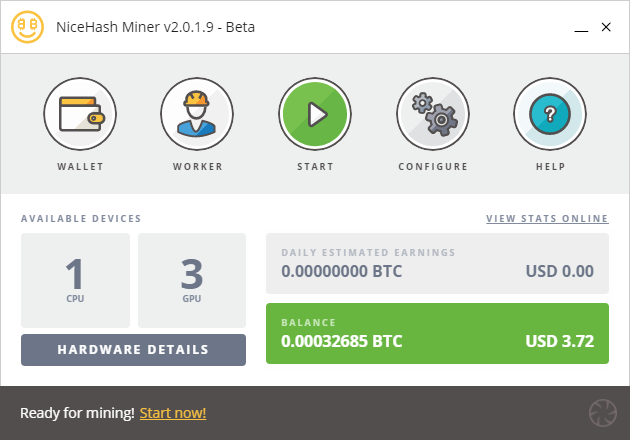 NiceHash Miner Main Screen