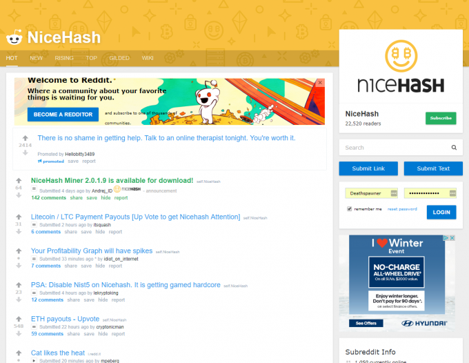 NiceHash Subreddit