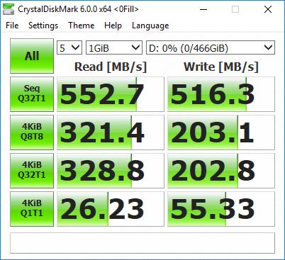 Samsung T5 SSD - CrystalDiskMark