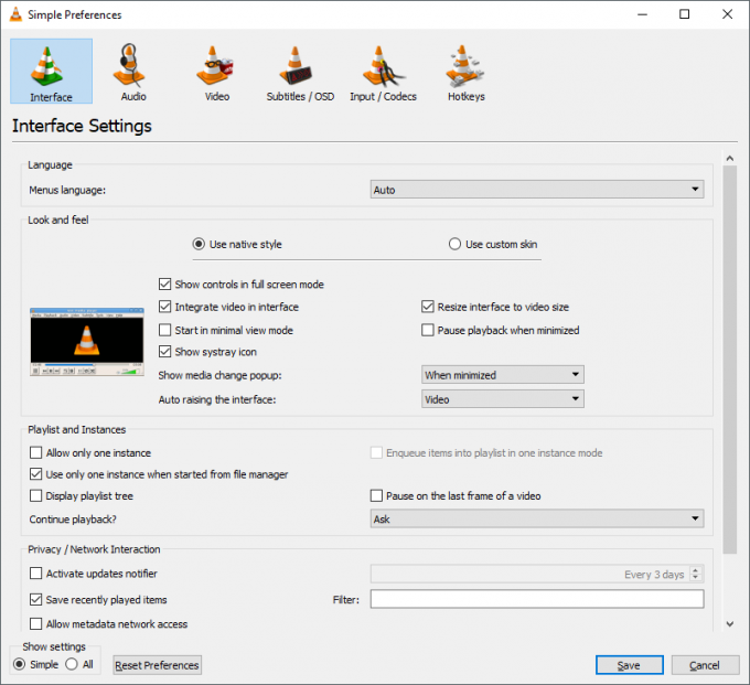 VLC 3 Options Screen