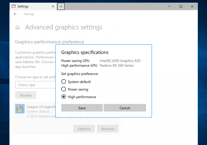 Windows 10 Build 17093 - GPU Selector