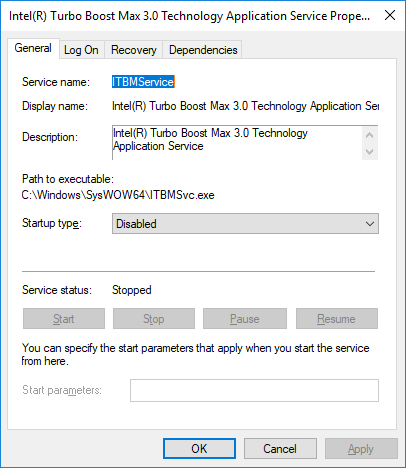 Intel ITBM Driver Issue - Disable Service Dialog