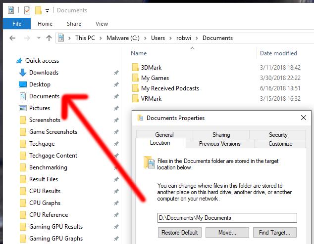Changing Documents Folder Location (Windows)