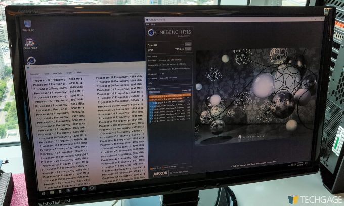 Intel 28 Core CPU With GIGABYTE Motherboard - Cinebench Score And CPU Freq