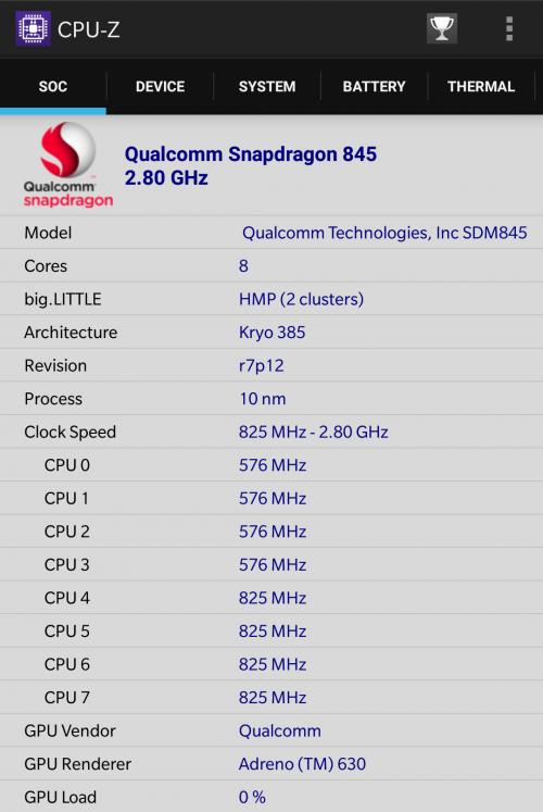 OnePlus 6 CPU-Z