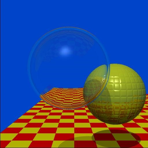 Two Spheres Recursive Ray Tracing