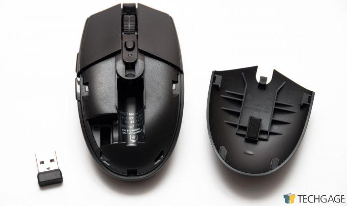 Logitech G306 LIGHTSPEED Wireless Mouse Battery Compartment & Nano Receiver