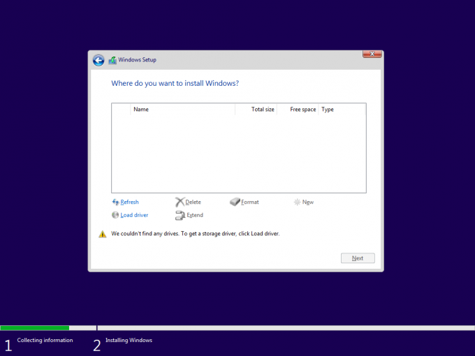 Windows 10 Install 'Load driver' Option