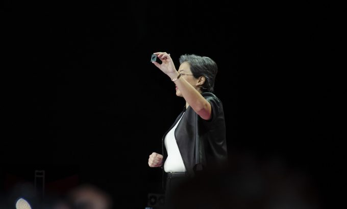 AMD's Lisa Su Holding 7nm Ryzen Processor