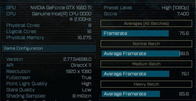 NVIDIA GeForce GTX 1660 Ti - Ashes of the Singularity Benchmark