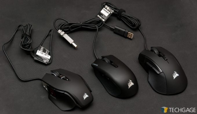 Corsair Harpoon, M65 RGB Elite, and Ironclaw RGB Gaming Mice