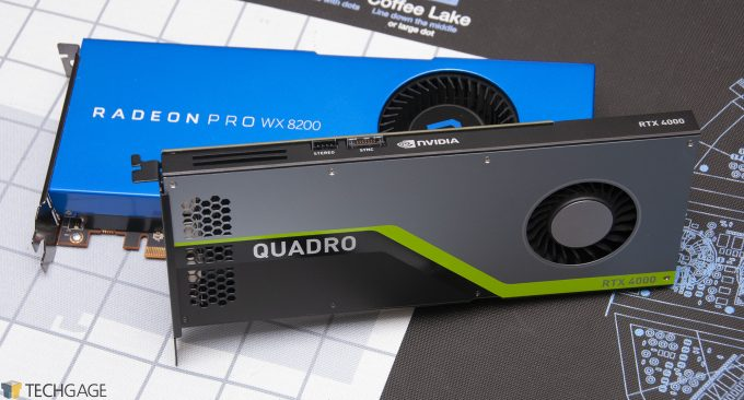 AMD Radeon Pro WX 8200 and NVIDIA Quadro RTX 4000