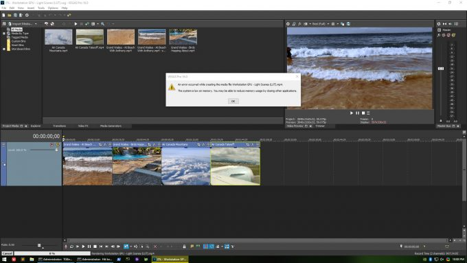 MAGIX Vegas Pro 16 - Low Memory On NVIDIA