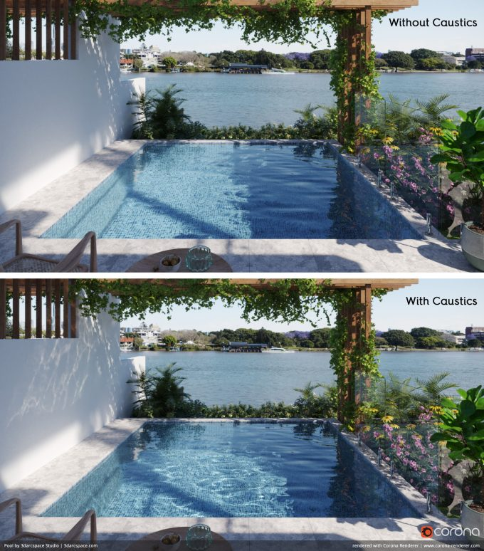 Corona Renderer 4 - Caustics Before and After