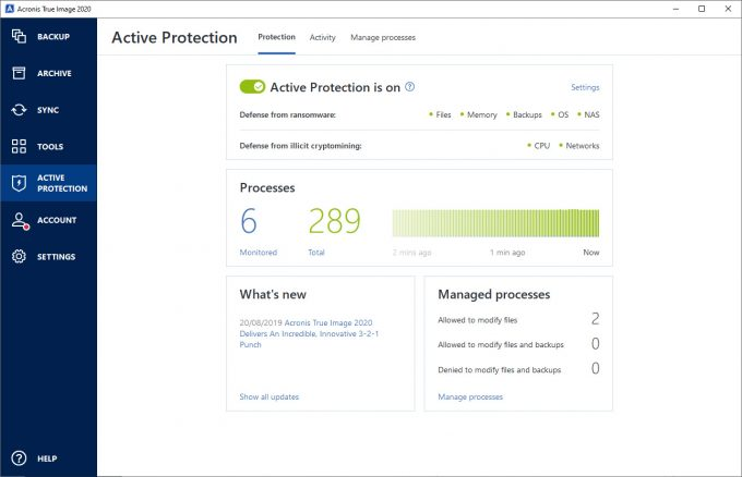 Acronis True Image 2020 - Active Protection Screen