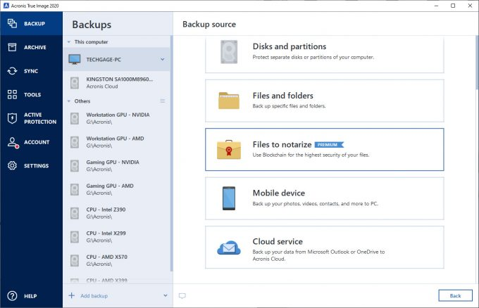 Acronis True Image 2020 - Backup Options Screen