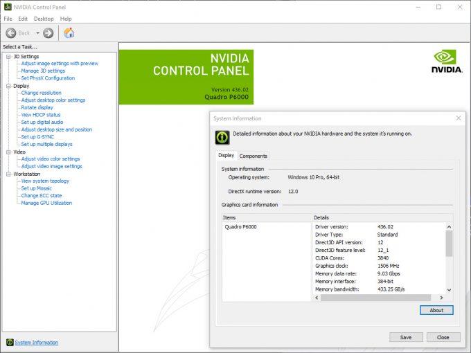 NVIDIA Control Panel - Driver Version