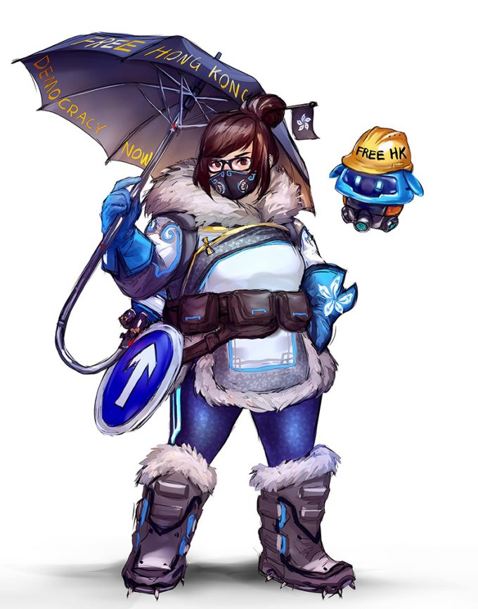 Overwatch's Mei in Support Of Hong Kong