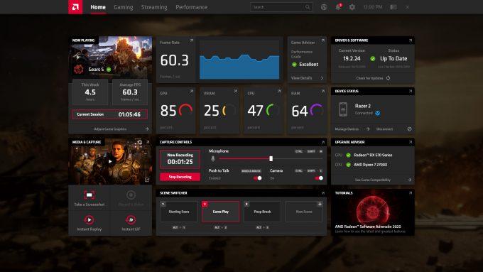 AMD Radeon Software Adrenaline 2020Home (Capture Context)