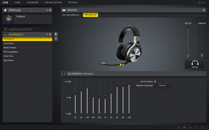 Corsair Virtuoso RGB Wireless SE iCUE EQ