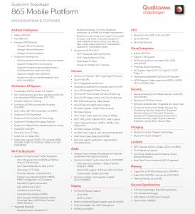 Qualcomm Snapdragon 865 Tech Specs