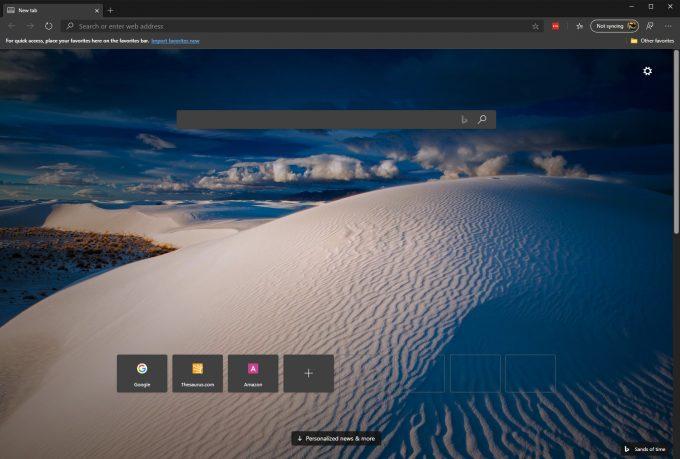 Microsoft Edge - Blank Page