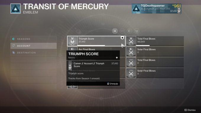 Destiny 2 - Season of the Worthy Emblem Mechanic