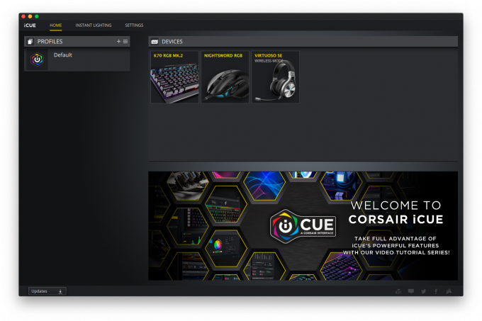 iCUE Software for macOS Review Main Screen