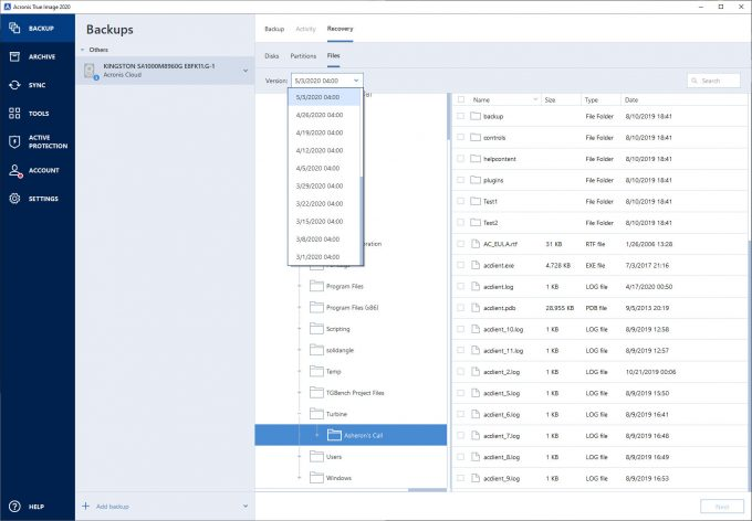Acronis True Image - Restoring Files From Cloud