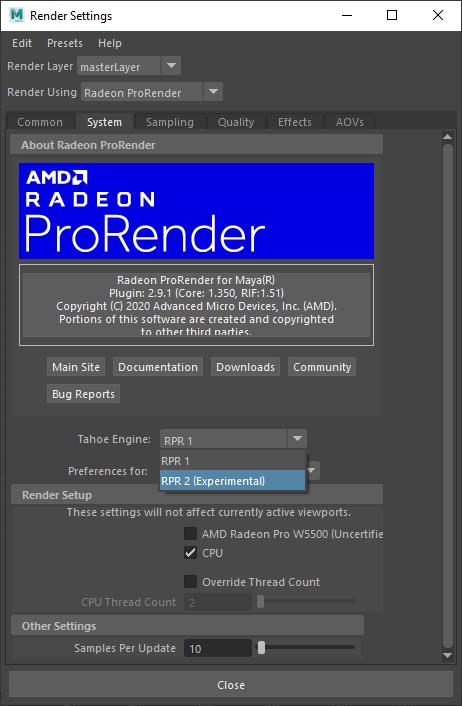 Autodesk Maya ProRender Integration