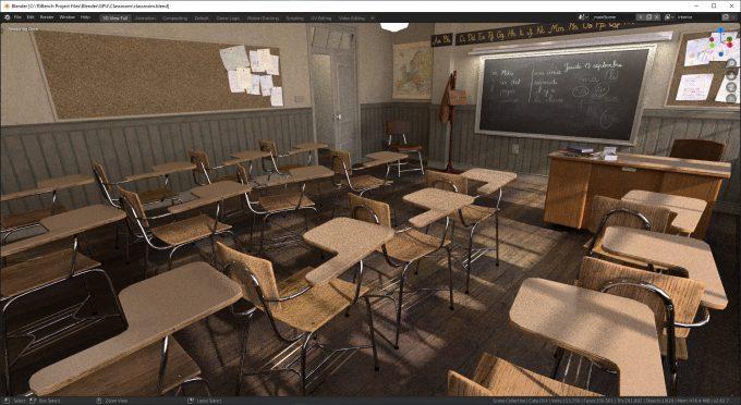 Blender 2.82 - Classroom Render