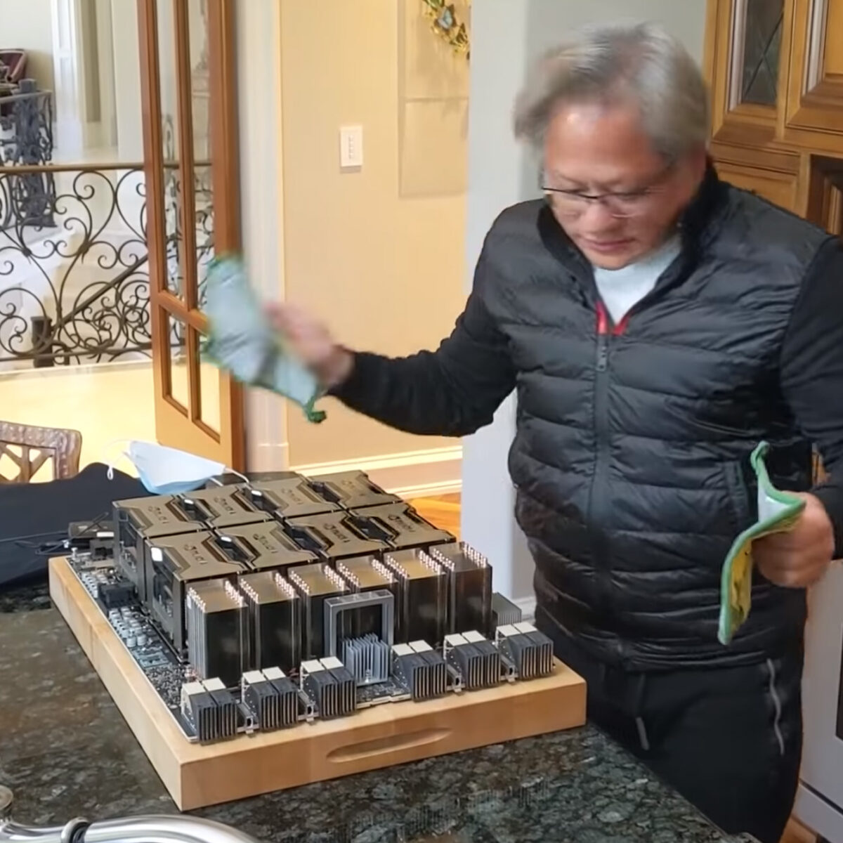 NVIDIA's Jensen Huang With World's Largest Graphics Card