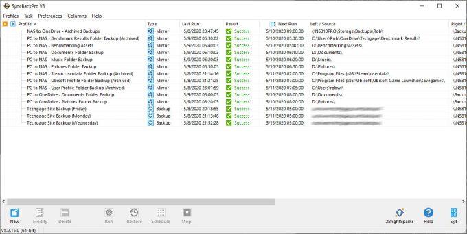 SyncBack Backup Profiles