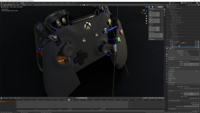 Blender 2.83 - Controller Project in Material Preview Mode