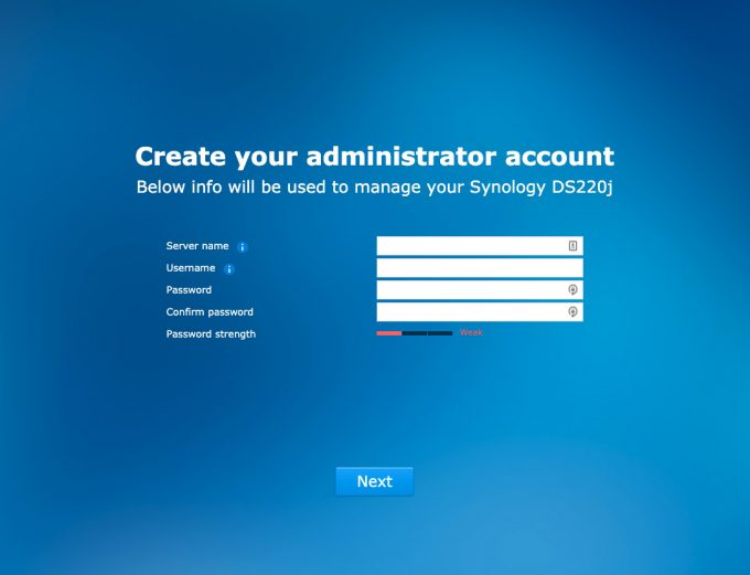 Synology DS220j and DS420j Screen Shot Create Admin Account