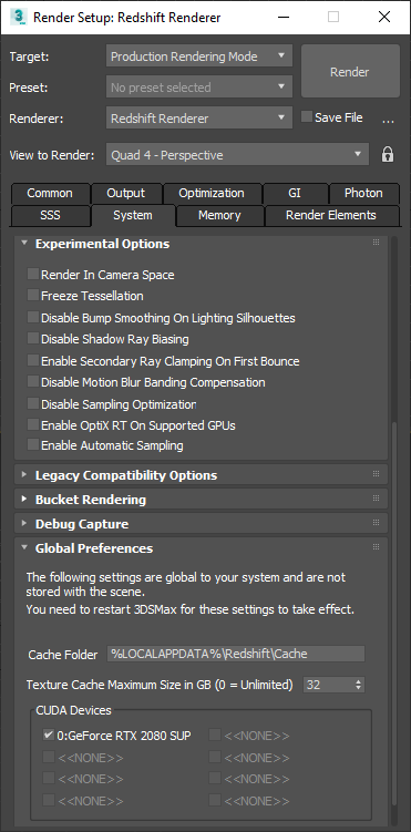 Autodesk 3ds Max - Enabling OptiX RT in Redshift