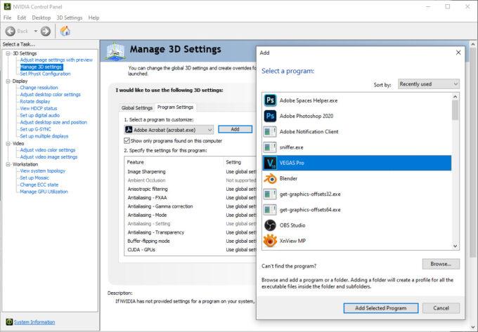 MAGIX Vegas Pro 18 Added To NVIDIA Control Panel